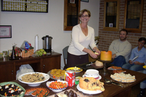 Department Tea with guests and a table with food platters