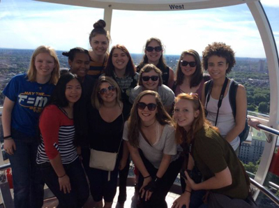 Students ride the London Eye